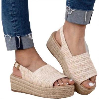 Women's Summer Shoe Plus Size 43 Fashion Open Toe Cane Chunky Sandals Woman Solid Backle Strap Wedges Cozy Designer Sandal