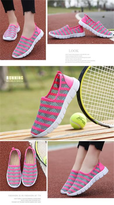 Women Sports Shoes Hollow Breathable Slip On Loafers Light Weight flats Tennis Female Running Women Casual Shoes Plus size 41