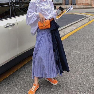 Women Girls Two-Color Pleated Long Skirt Ruffles Striped Patchwork Loose Ladies High Waist Elastic Flared Dress