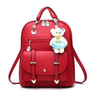 School Backpack For Teenage Girls Cute Ornaments Large Capacity Bag For Women PU Leather Notebook Backpack