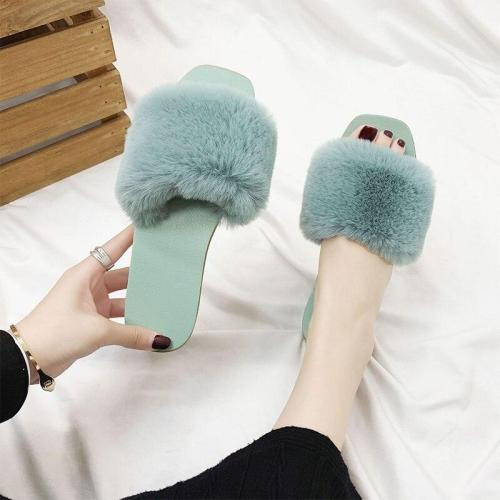 Women Spring Plush Slipper Ladies Indoor Casual Flat Shoes Female Comfortable Open Toe Slippers Woman Light Platform Shoes