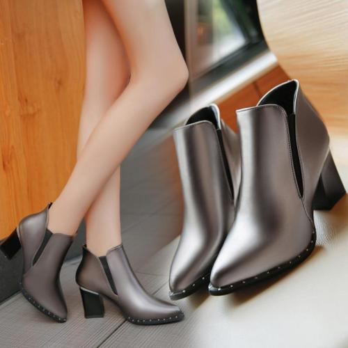 Woman Ankle Boots High heels Women Shoes Poined Toe Silver Heeled Pumps 2016 Winter Shoes Ladies Booties botas mujer 2885