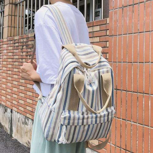 Female Plaid Canvas Backpack Harajuku Student Women School Bag Girl Striped Cute Backpacks Kawaii Buckle Ladies Bag Book Teenage