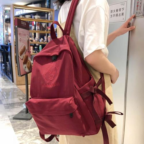 Female Embroidery Cute Backpack Bear Nylon Women School Bag For Girl Student Backpack Kawaii waterproof book Bag Fashion Teenage