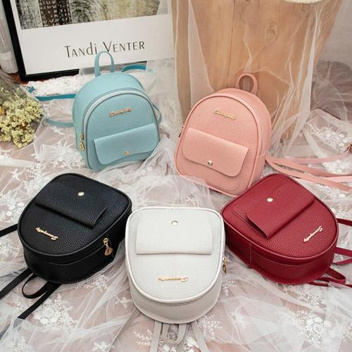PU Leather Candy Color Travel Backpack For Women Headphone Hole Mini Female Backpack Cute Letter Bags For Girls