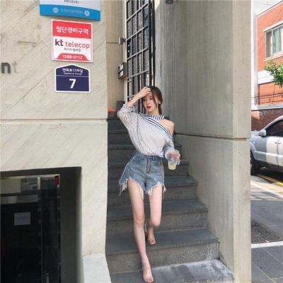 Korean Spring New Temperament Striped Halter Sexy Off Shoulder Long Sleeve Shirts Blouses Women Blusas Fashion Streetwear 2020