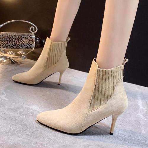 2020 Winter Shoes Woman Ankle Boots Elastic Band Fashion Dress Shoes Pointed Toe High Heels Botas Mujer Ladies Shoes Black 7752