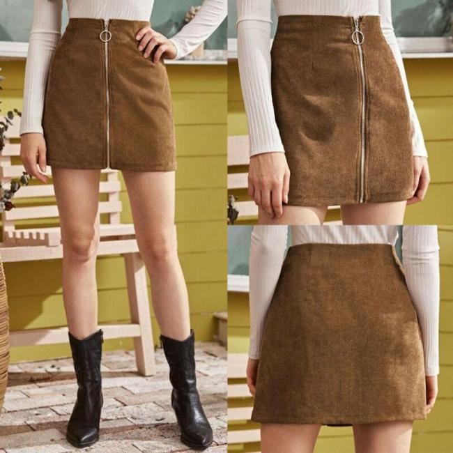 hirigin New Womens Corduroy Zipper Skirt Lady Casual Autumn Winter Solid color Evening Party Short Mini Dress