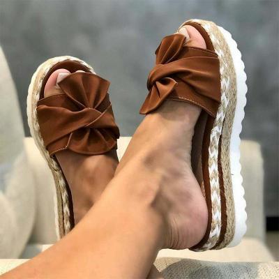 Slippers Women Summer Big Size 41 42 43 Woman Hemp Bow Flat Platform Women's Female Shoes Ladies Breathable Non Slip Footwear