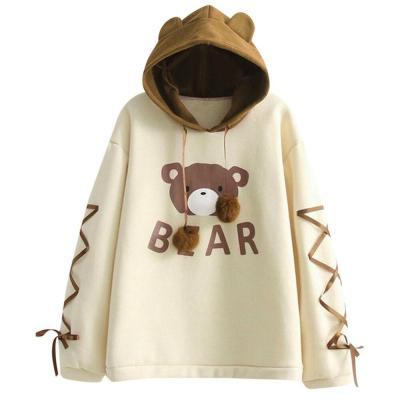 Cute Women Bear Cap Hooded Sweatshirt Harajuku Top Womens Long Sleeve Ribbon Hair Ball Cute Sweat Hooded Jumper moletom #F5