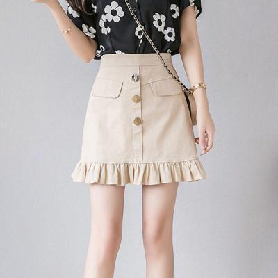 Ruffle Cotton Jeans Skirts Summer Korean Vintage Denim Skirts Women Mini Skirt Sexy High Waist School Skirt Beach Warp Skirts
