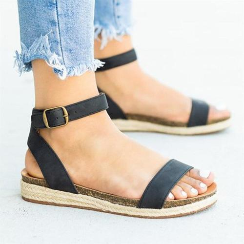 Sandals women shoes summer shoes 2020 fashion buckle & ankle strap chaussures flat shoes woman platform women sandals femme