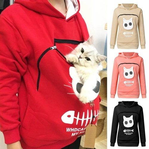 2020 winter women hooded sweatshirts Women's Sweatshirt Animal Pouch Hood Tops Carry Cat Breathable Pullover sweatshirts#g3