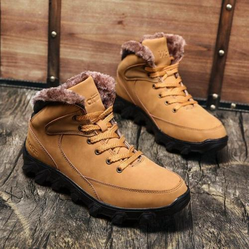 Men Boots Warm Fur Snow Boots For Martin Boots Leather Winter Shoes Men Ankle Boots Men Winter Footwear Winter Mens Shoe Booties