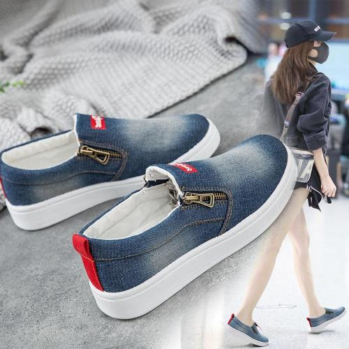 Flat shoes women Canvas shoes Plus size 35-44 Denim shoes women Platform Fashion Zipper Sneakers women Loafers women 2020 New