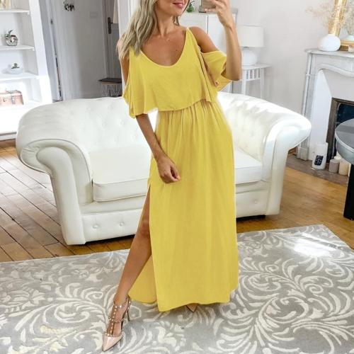 Woman'S Dress Summer Hollow Out Half Sleeve Ladies Sundress Maxi Dress Fashion Casual Spaghetti Strap Female Dress Vestidos D30