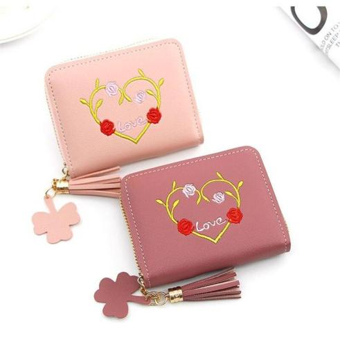 Candy Color Women's Mini Wallet Heart Print Elegant Short Zipper Wallet Women Cute Coin Purse Card Holder Star Pendants Tassel