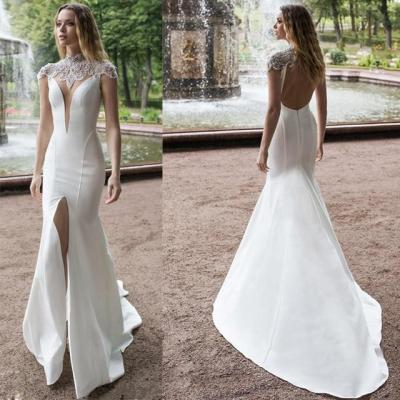 Eightree Front Split 2020 Mermaid Wedding Dresses Plus Size High Neck Beads Satin Bridal Gowns Lace Sweep Train Wedding Dress