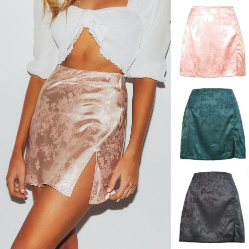 Women Sexy Mini Skirt Womens Sexy Party Floral Print Zipper Slim High Waist Satin Split Mini Skirt Faldas Mujer Moda 2020 #YJ