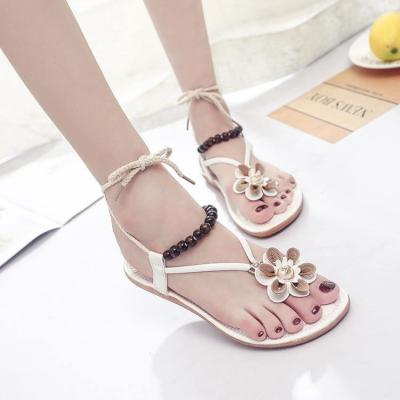 Sandalias mujer 2020 new fashion Bohemian style bead ed flowers decorative flat sandals casual travel beach shoes woman sandals