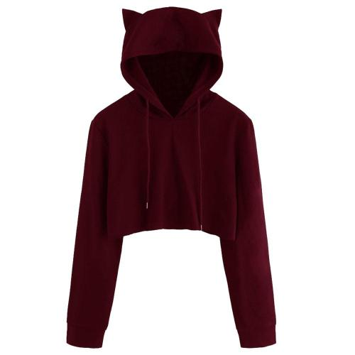 Cute Womens Cat Ear Short Sweatshirts Autumn Kawaii Solid Drawstring Hoodie Tops Female Long Sleeve Cropped Hooded Pullover #Y3