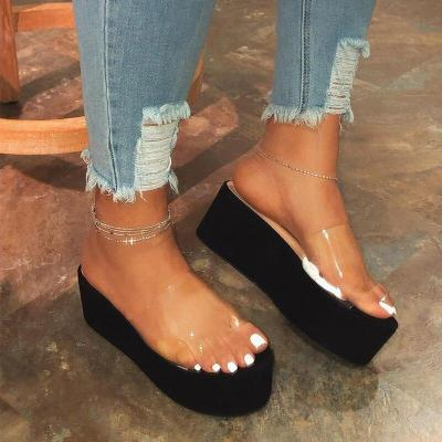 Women Platform High Heel PVC Summer Slippers Woman Outdoor Beach Sandals Color Printing Non Slip Durable Slippers Ladies Shoes