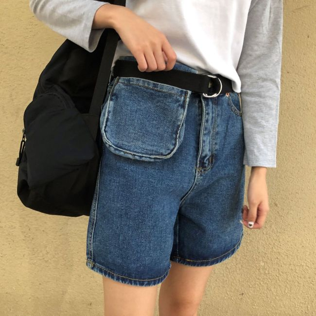 Korean New Summer New Washed High-waisted Loose Pocket Retro Casual Wide Leg Denim Shorts Women Jeans Fashion Streetwear 2020