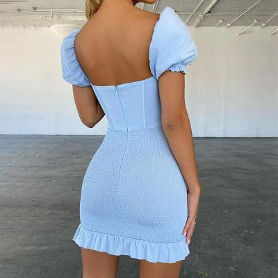 DGIRL Ruffles Blue Bodycon Party Dress Women Ruched Puff Ruffles Sleeve Backless Elegant Mini Dress Female Summer Dress 2020