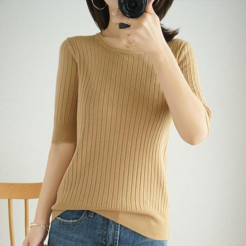 women tops spring halfsleeves knitting shirt round neck soft warm basicshirt short fashion pullover striped thin jacket