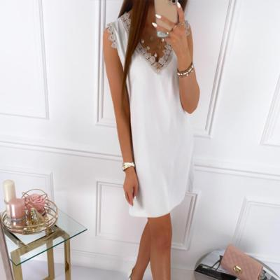 2020 Women Dress Sleeveless Straight Lace Mini Dresses Summer Solid Color V Neck Ladies Casual Dress Femme Clothing vestido D30