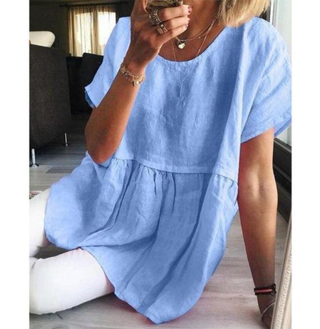Casual Solid Cotton Linen Mini Dress Summer Women Short Sleeve A-Line Shirt Dress Retro Elegant Female Party Dress Vestidos 4XL