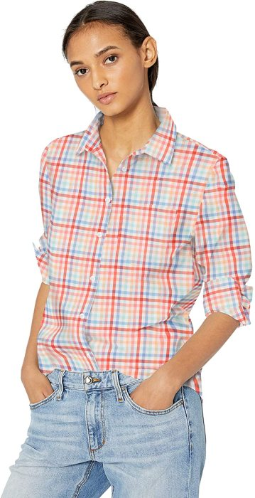 Essentials Women's Classic-Fit Long Sleeve Button Down Poplin Shirt