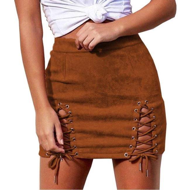 Skirts Women 2020 Autumn casual tie elastic Europe New Suede Straps Sexy Package Hip mini Skirt Vestidos De Festa SJVD5027