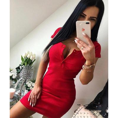 Summer Dress 2020 Fall Women Sexy Casual Knit Sheath Mini Dresses Ladies Solid V Neck Chest Button Short Sleeve Bodycon Dress
