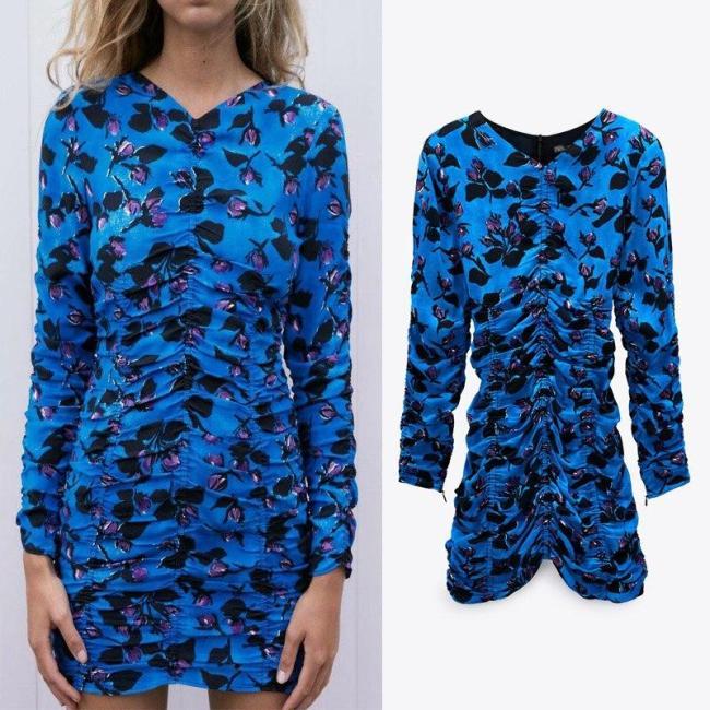 Za Summer Ruched Dress Women Blue Printed Draped Dresses O-neck Pleated Elastic Waist Mini Woman Dress Long Sleeve with Zip