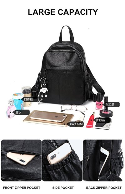PU Leather Outdoor Backpack Bags For Women Multifunction Female Ladies Shoulder-bag Bagpack Mini School Bags For Girls