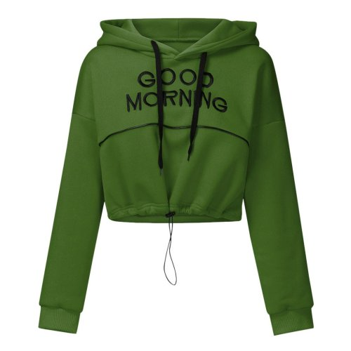 Women Letter Print Hoodies Sweatshirt Autumn Hooded Long Sleeve Pullover Fashion Casual Drawstring Short Sleeve Tops Hip Hop#Y3