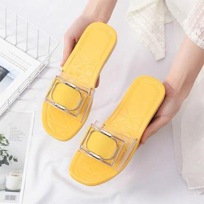 Women Summer Open Toe PVC Slippers Ladies Slip On Metal Decoration Casual Shoes Woman Light Female Comfort Beach Slipper 2020