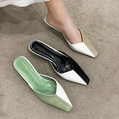 Women Summer Pointed Toe Slip On PU Leather Slippers Ladies Mixed Color Casual Shoes Woman Light Female Platform Comfort Slipper