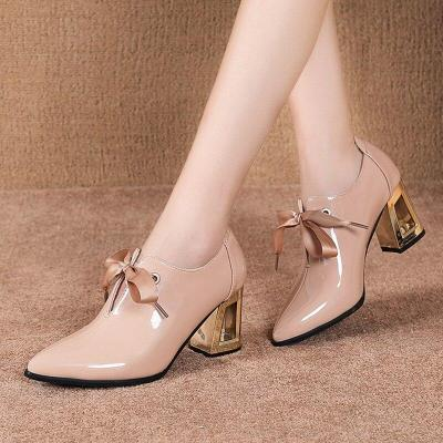 2020 Spring Women Shoes Pointed Toe Lace Up High Heels Pointed Toe Dres Shoes Patent Leather Bare boots Black botas mujer 7969N