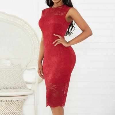 Bodycon Red Dress For Lady Sexy Lace Stitching Slim Fit Women Dress Wedding Party Summer Floral Print Female Dress Vestidos D30