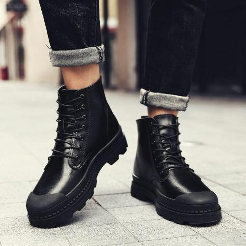 New 2020 Autumn Winter Boots Men Soft Leather Winter Shoes Warm Plush Men's Boots Male Brand Ankle Botas Waterproof