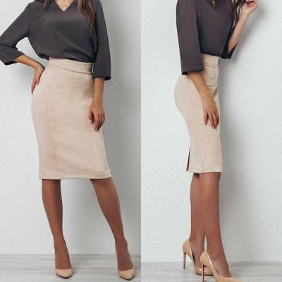 Women Lady High Waist Suede Skinny Bodycon Pencil Stretch Office Ladies Fashion Slim Split Midi Skirts