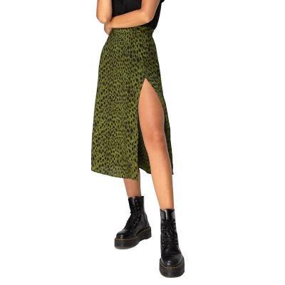 Women Summer Split Leopard Skirts 2020 Green Fashion Long Skirt Sexy Women Streetwear Loose Lady Clothes Black Mid Calf Skirts