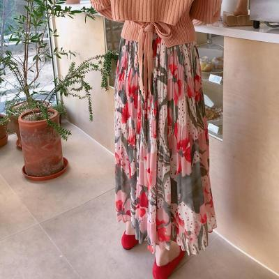 Tulip Floral Print Pleated Skirts Women Spring Long Maxi Skirt Elastic Waist Chiffon Skirts Elegant Sweet Summer Vintage W355
