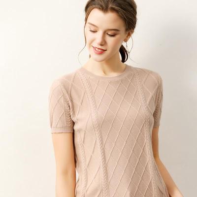 T Shirt Women Tops Short style geometric pattern style shirts Casual female knitting sweater short sleeves Tee