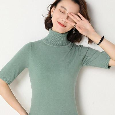 spring shirt turtleneck half sleeves pullover soft knitting sweater solid short tops sexy slim outerwear