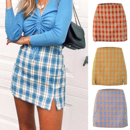 Fashion Skirt Women Summer Casual Split High Waist Lattice Print Beach Sexy Short Skirt Pencil Skirt falda cuadros 2020 New @45