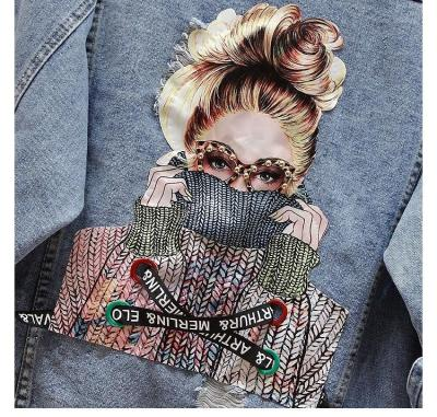 NEWDISCVY Back Letter Printed Denim Jacket 2020 Autumn Ripped Holes Jean Coat Patchwork BF Style Jeans Coats And Jackets