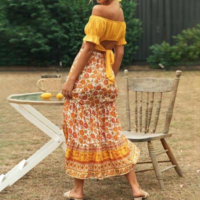 Bohemian floral print beach skirt women 2020 summer lace up ruffle mini skirt casual A-line flower skirts faldas mujer